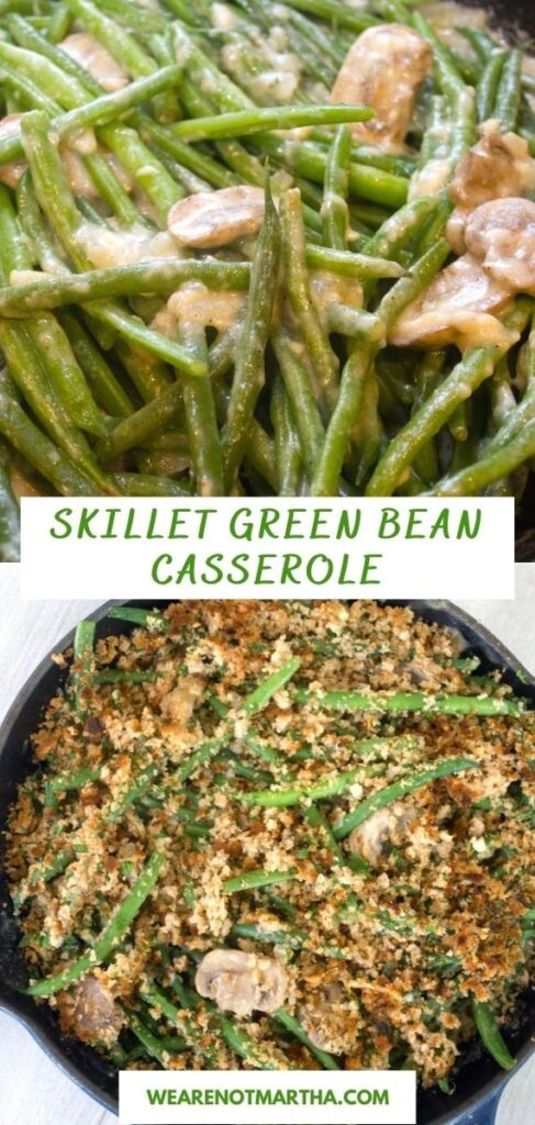 This Skillet Green Bean Casserole is a bit healthier than the typical green bean casserole and perfect for Thanksgiving, Christmas, or any winter dinner! | wearenotmartha.com #greenbeans #greenbeancasserole #thanksgiving #thanksgivingsides #vegetables #healthierthanksgiving