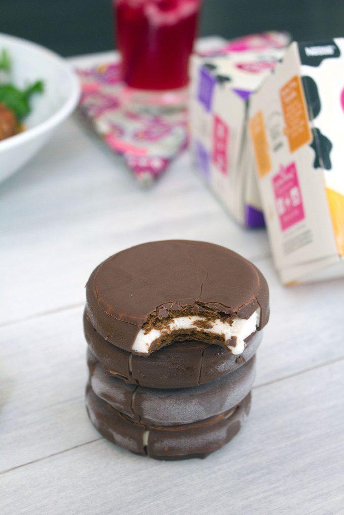 Skinny Cow Chocolatey Dipped Ice Cream Sandwiches | wearenotmartha.com