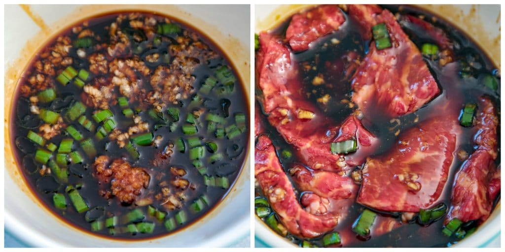 Collage showing bowl with teriyaki marinade and bowl with beef marinading.