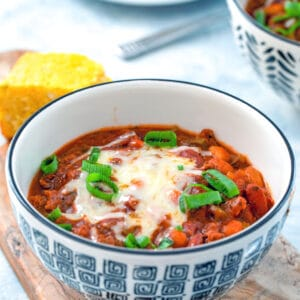 Slow Cooker Chili -- This Slow Cooker Chili simply requires browning the meat, chopping some veggies, and then cooking on low for 8 hours. It doesn't get much easier (or delicious!) than that! | wearenotmartha.com