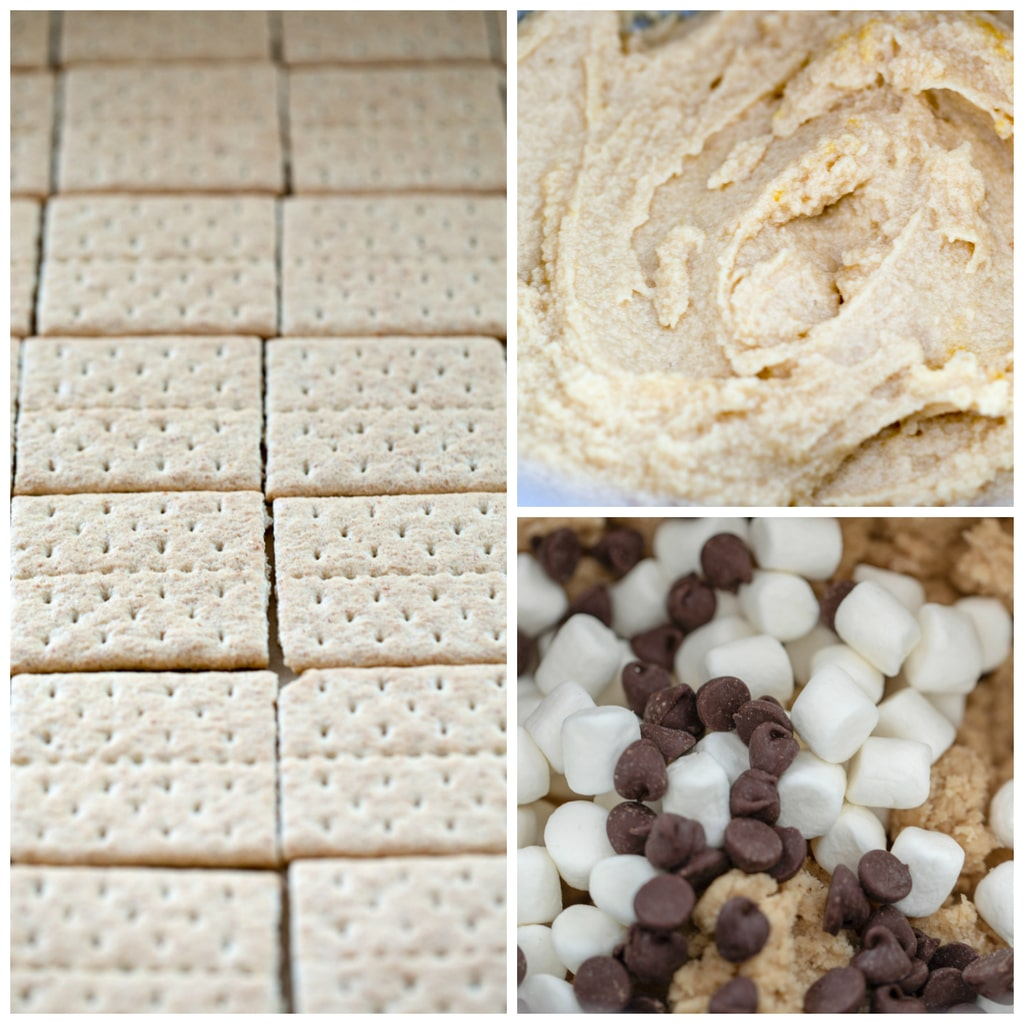 Collage showing s'mores cookie bars making process, including baking sheet lined with graham cracker squares, cookie dough, and cookie dough with chocolate chips and marshmallows