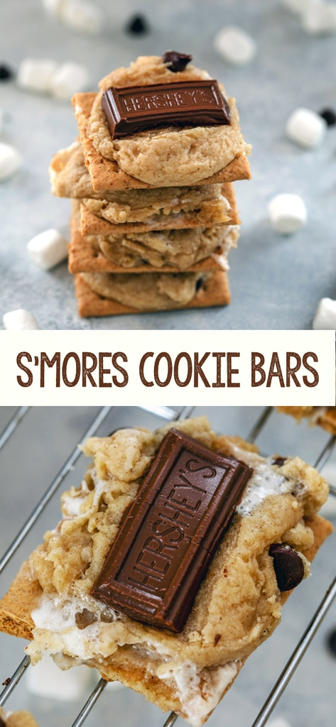 S'mores Cookie Bars -- These cookies have all the classic elements of s'mores, but are incredibly easy to make in your oven at home, no matter what time of year! | wearenotmartha.com #smores #cookies #summer #dessert