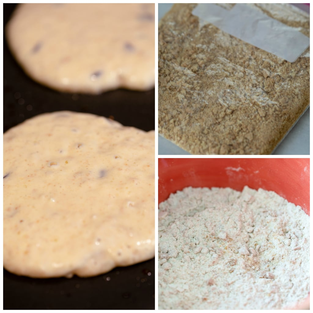 Collage showing process for making graham cracker pancakes, including graham cracker crumbs in bag, graham cracker crumbs mixed with dry ingredients in a bowl, and pancakes cooking on a griddle