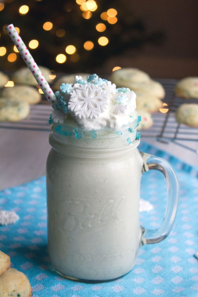 Snow Day Sugar Cookie Milkshake -- Cozy up with this sweet milkshake   wearenotmartha.com