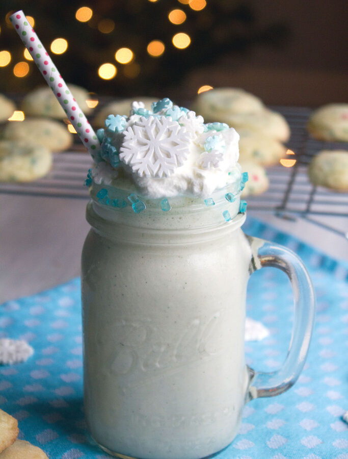 Snow Day Sugar Cookie Milkshake -- When it's cold and snowy outside, turn up the heat and snuggle up on your couch with this Snow Day Sugar Cookie Milkshake. Even when the holidays are over, your winter celebrations don't have to be! | wearenotmartha.com