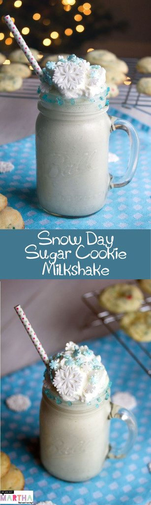 Snow Day Sugar Cookie Milkshake -- Cozy up with this sweet milkshake | wearenotmartha.com