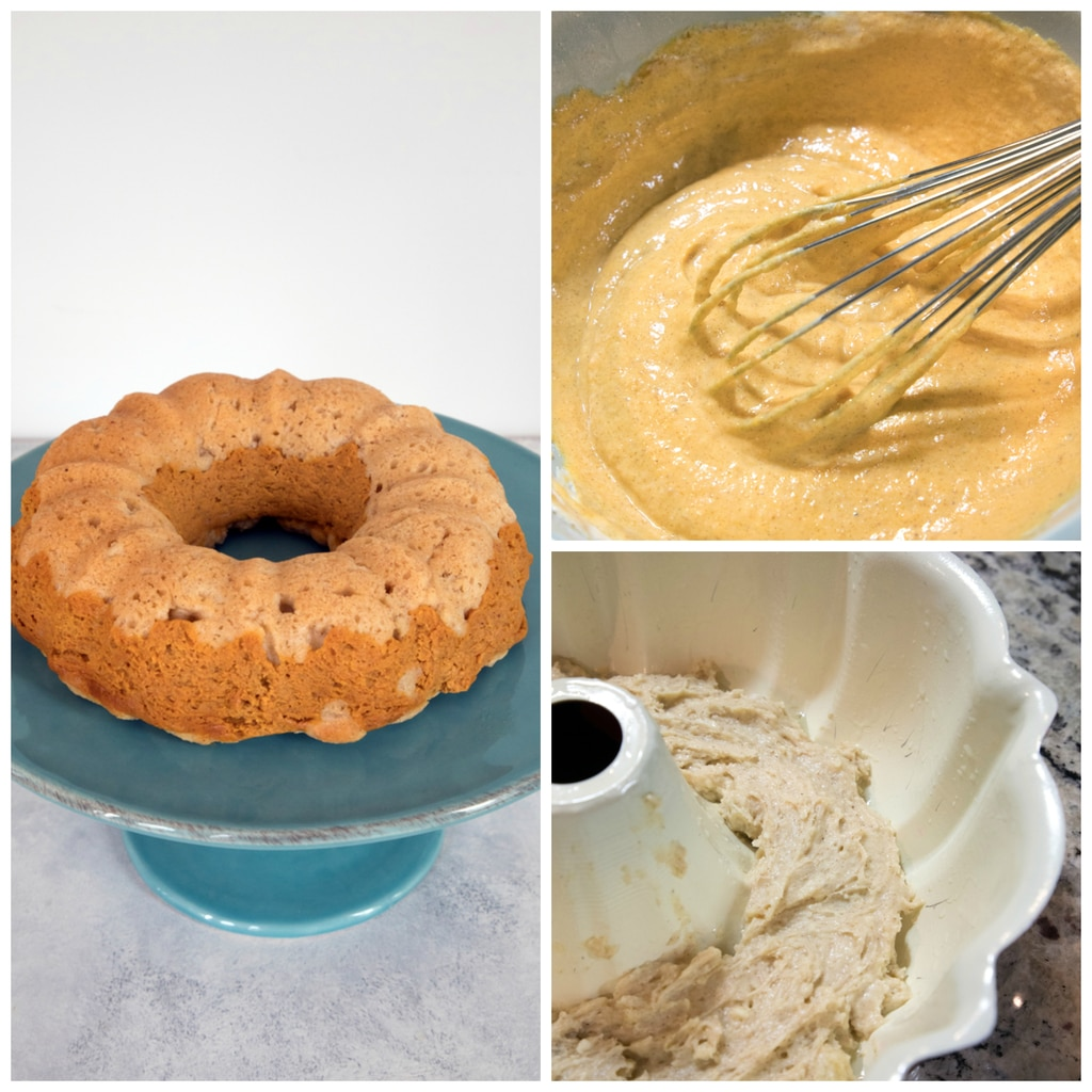 Collage showing the process for making sour cream pumpkin pie bundt cake, including pumpkin batter being whisked in bowl, cake batter being layered in bundt pan, and bundt cake on cake stand