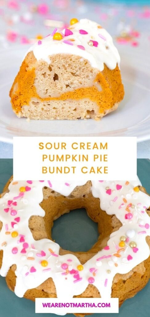 This Sour Cream Pumpkin Pie Bundt cake is an incredibly moist cake with a delicious pumpkin pie swirl! | wearenotmartha.com #pumpkinpie #bundtcake #pumpkincake #fallcake #sourcreamcake