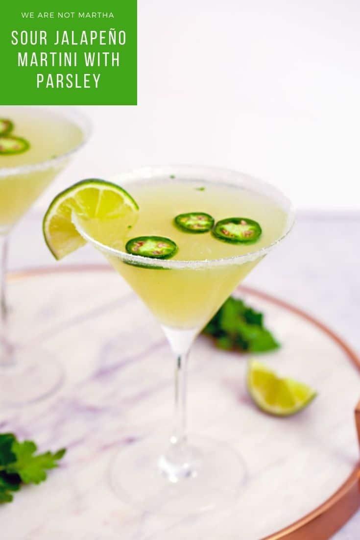 Sour Jalapeño Martini with Parsley