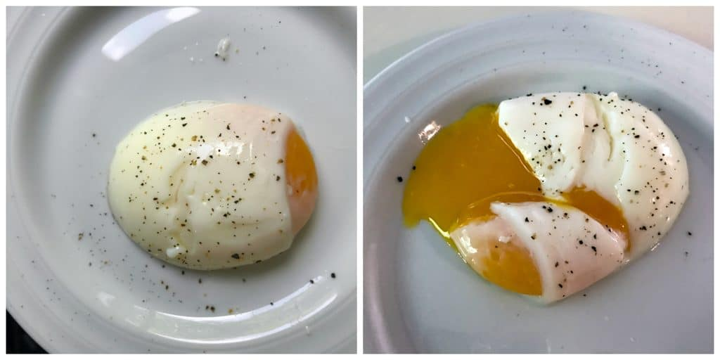 Photo of sous vide egg on a white plate next to another photo of the egg with yolk running out