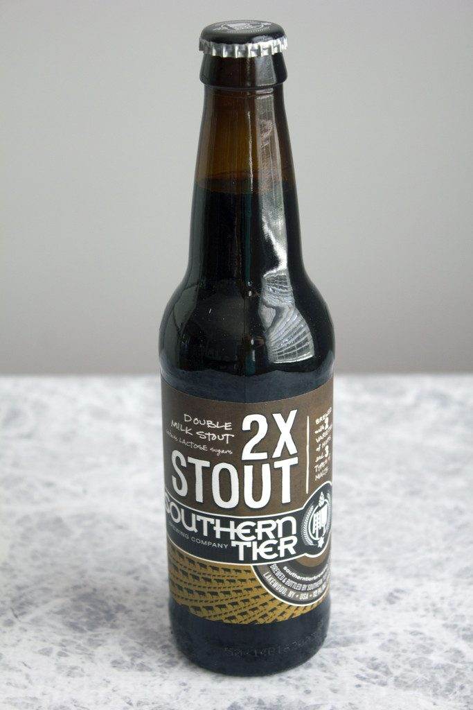 Head-on view of a bottle of Southern Tier 2X Stout