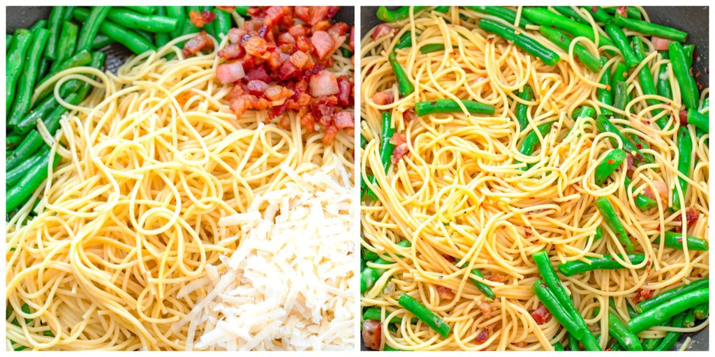 Collage showing process for making pasta dish, including combining spaghetti, green beans, pancetta, and parmesan cheese in skillet and ingredients all tossed together in skillet