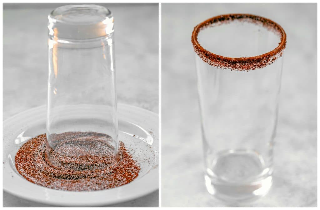Collage showing process for rimming cocktail glasses in chili, sugar, and salt mixture, including glass upside on plate with spice mix and glass standing showing rim