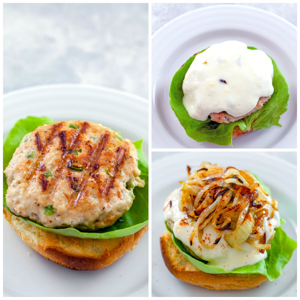 Collage showing process for assembling spicy cheesy chicken burgers, including chicken burger on piece of lettuce on brioche bun, chicken burger topped with cheese sauce, and chicken burger topped with caramelized onions