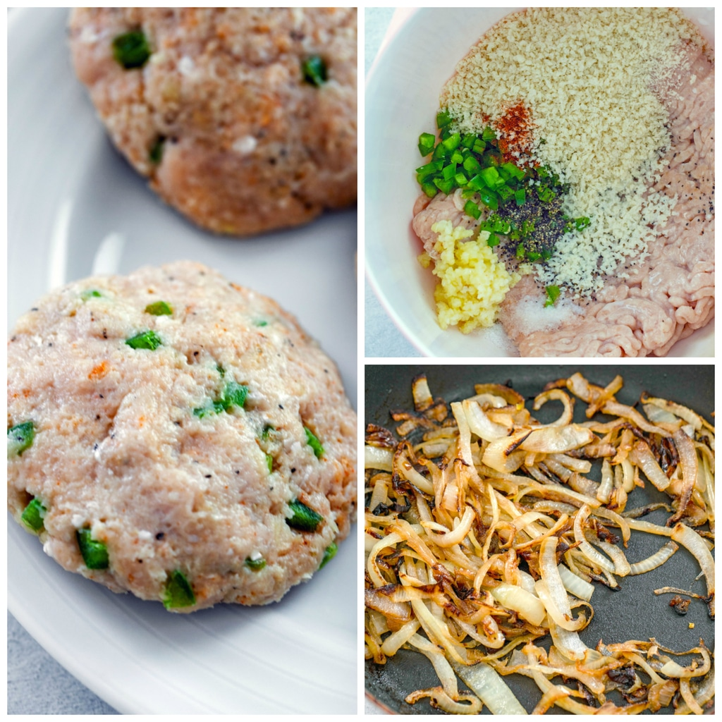 Collage showing process for making spicy cheesy chicken burgers, including chicken burger ingredients in mixing bowl, chicken burger patties formed, and caramelized onions cooking in skillet