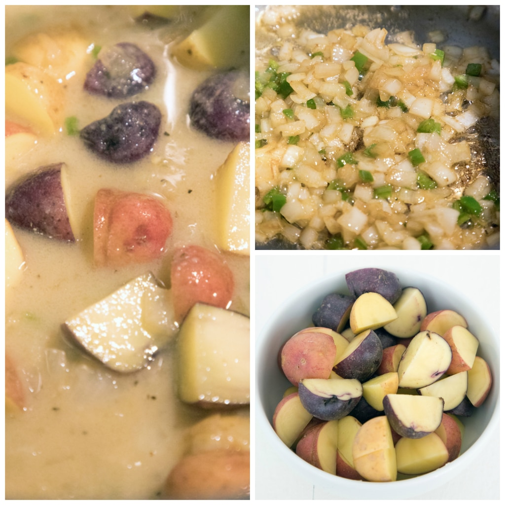 Collage showing process for making spicy clam chowder with corn, including chopped potatoes in a bowl, onion and jalapeños cooking in bacon fat, and New England clam chowder simmering in pot