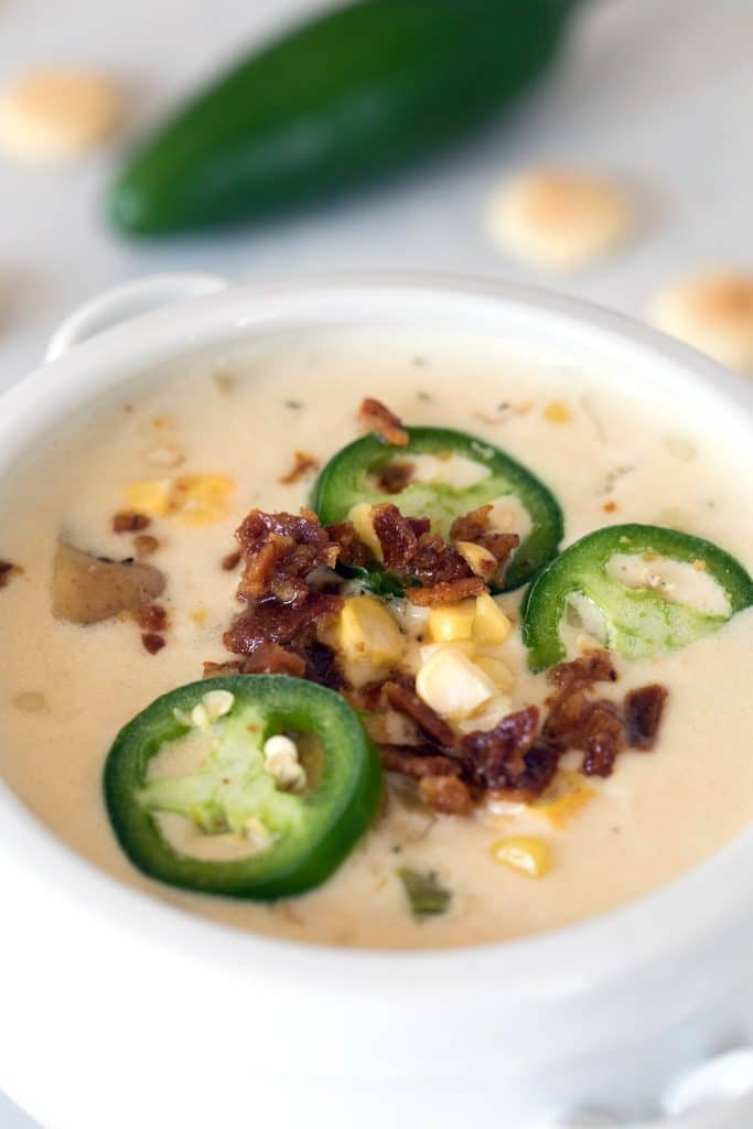 Spicy Clam Chowder with Corn -- A New England style clam chowder with a little kick! | wearenotmartha.com