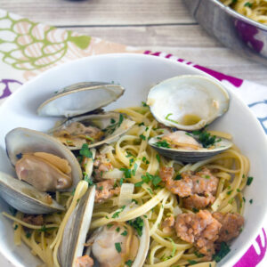 Spicy Lime Linguine with Clams and Sausage -- A spicy take on a traditional shellfish and pasta dish | wearenotmartha.com