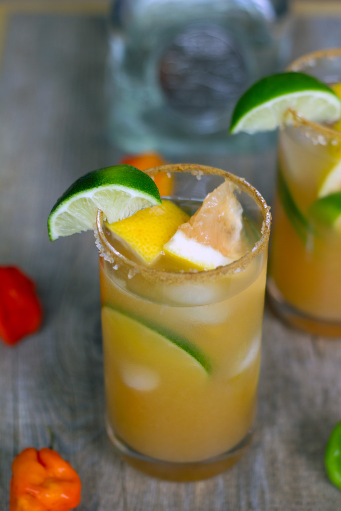 Spicy Roasted Grapefruit Margaritas -- A unique cocktail with a kick | wearenotmartha.com