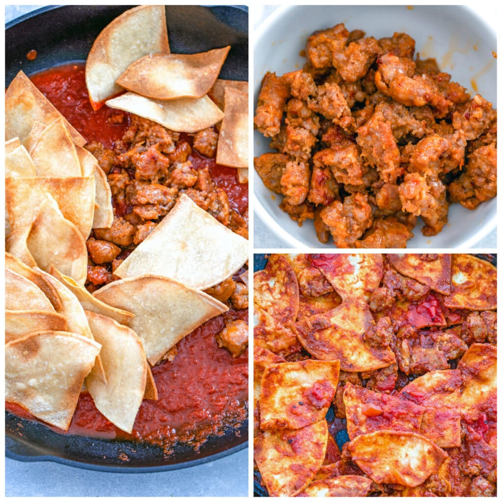 Collage showing process for assembling chilaquiles, including cooked spicy sausage in a bowl, sausage and tortilla chips in red chile sauce in skillet, and ingredients mixed together in skillet