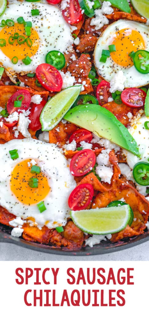 Spicy Sausage Chilaquiles -- This recipe for spicy sausage chilaquiles with eggs consists of homemade corn tortilla chips and red chile sauce, but is still incredibly easy to make. It's packed with flavor and makes for a delicious brunch or breakfast for dinner! | wearenotmartha.com #chilaquiles #sausage #brunch #eggs #breakfastfordinner