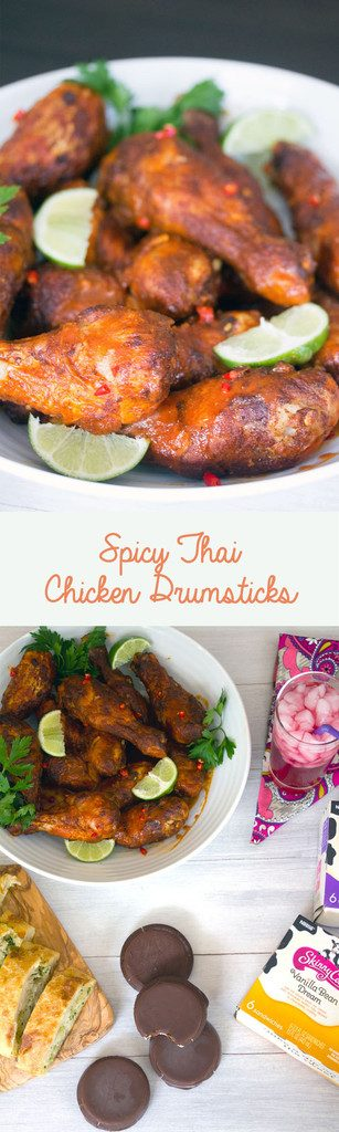 Spicy Thai Chicken Drumsticks -- Sriracha, Thai chiles, and lime give these drumsticks the perfect balance of spice and citrus | wearenotmartha.com