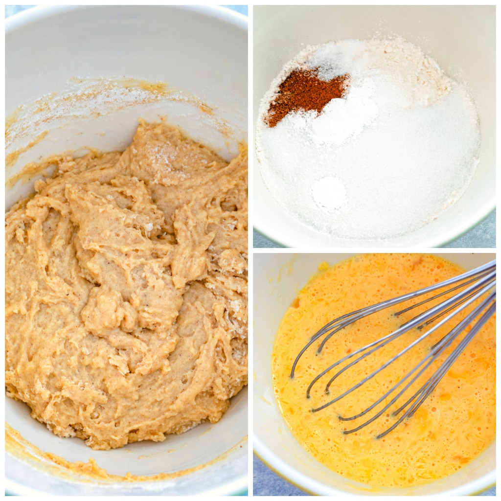 Collage showing dry ingredients in a bowl, wet ingredients being whisked together, and batter in a bowl