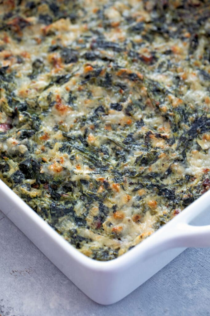 Spinach dip in baking dish just out of the oven