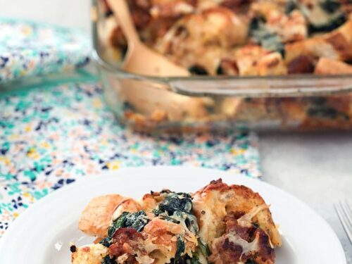 Spinach Sausage And Cheese Strata Recipe We Are Not Martha