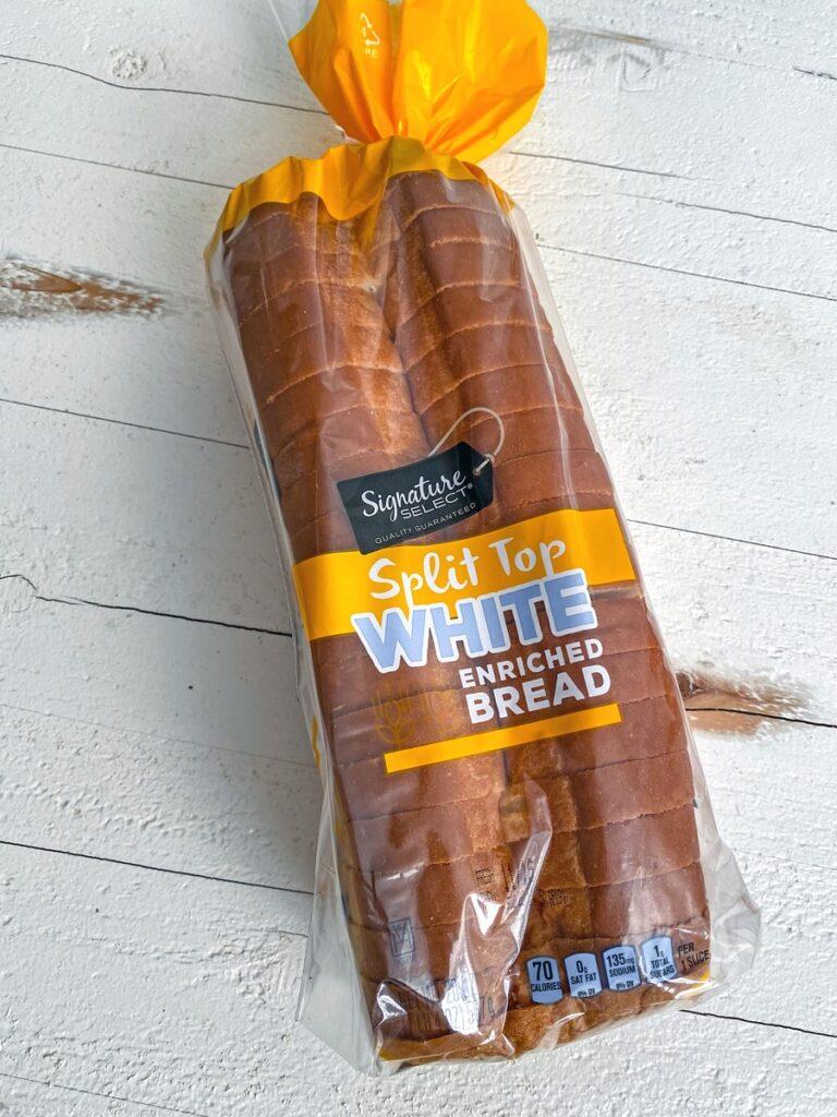 Package of split-top white bread