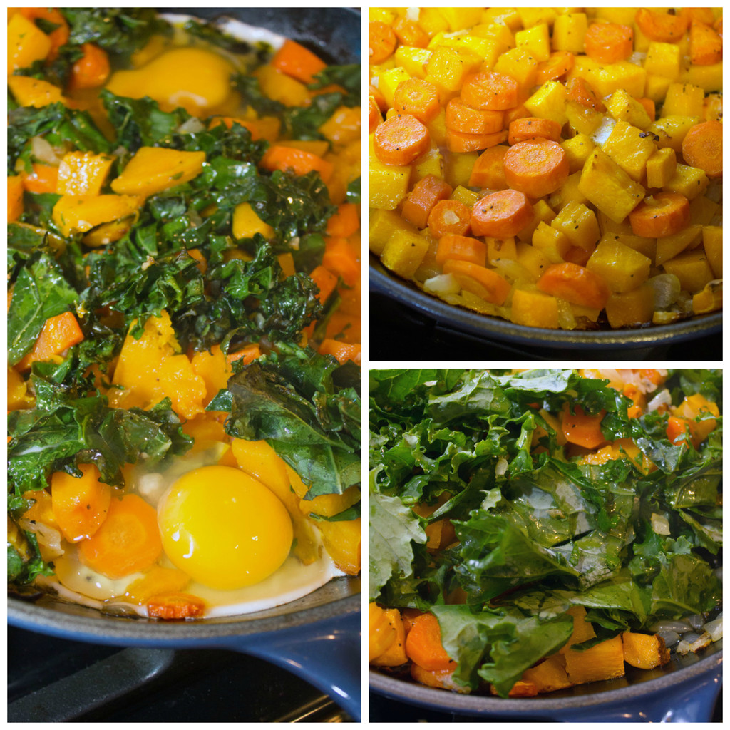 Collage showing process for making squash hash with kale and eggs, including chopped kale and carrots in a cast iron skillet, kale added to skillet, and eggs cracked into skillet