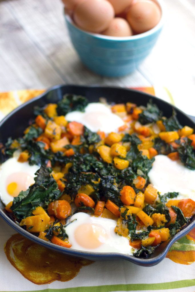 Squash Hash with Kale and Eggs -- A meatless hash loaded with healthy and flavorful vegetables | wearenotmartha.com