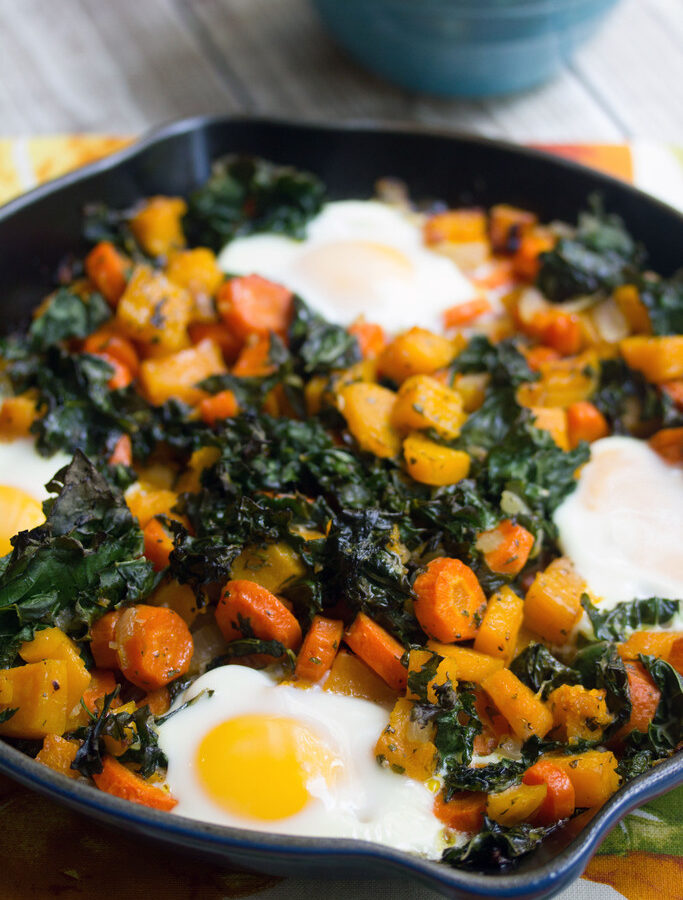 Squash Hash with Kale and Eggs -- Think a meatless hash sounds like no fun? Think again! This Squash Hash with Kale and Eggs will have you loving every minute of fall, especially at breakfast time | wearenotmartha.com