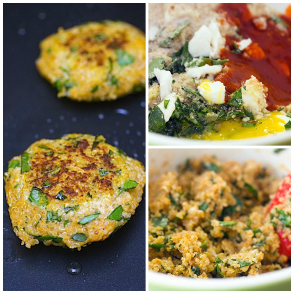 Collage showing process for making sriracha quinoa cakes, including photo of all ingredients in a bowl, a photo of ingredients mixed together in bowl, and a photo of quinoa patties cooking on a skillet