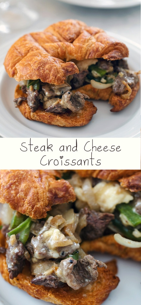 Steak and Cheese Croissants -- There are a few important components necessary for the perfect steak and cheese sandwich. These hit all the marks and make for the ultimate lunch or dinner | wearenotmartha.com #steak #steakandcheese #croissants