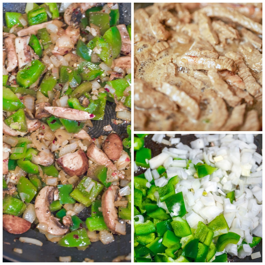 Collage showing process for making steak and cheese fried rice, including steak cooking in skillet; peppers and onions cooking in skillet; and peppers, onions, and mushrooms cooking in skillet