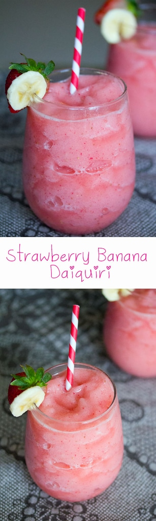 Strawberry Banana Daiquiri -- Stop everything you're doing and sit in the sun and relax with this strawberry banana daiquiri. You can use a mixer to make this frozen summer cocktail or a light rum and some sugar instead | wearenotmartha.com #daiquiri #strawberrybanana #beach #summer #cocktails