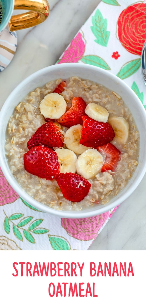Strawberry Banana Oatmeal -- Oatmeal doesn't have to be boring! This Strawberry Banana Oatmeal is ready in 5 minutes and sure to brighten up your otherwise average weekday morning! | wearenotmartha.com #oatmeal #strawberrybanana #breakfast