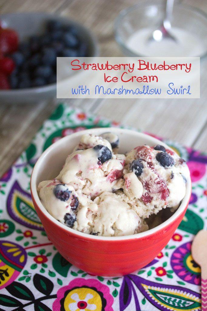 Strawberry Blueberry Ice Cream with Marshmallow Swirl - The perfect patriotic summer ice cream | wearenotmartha.com