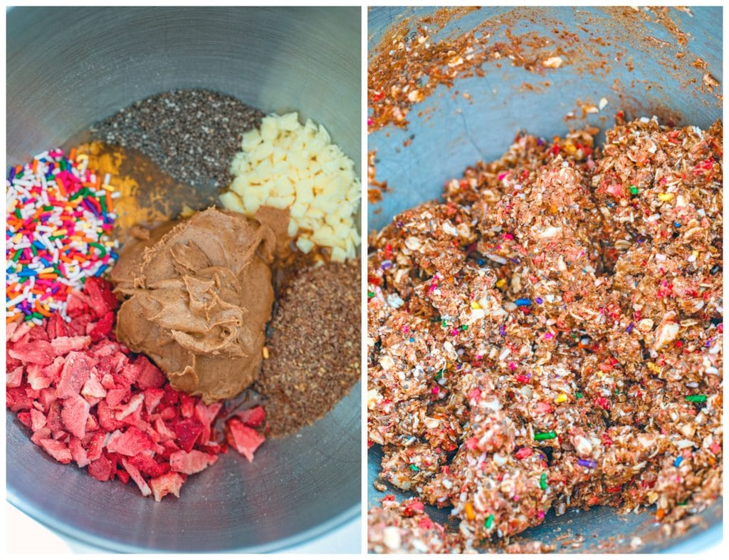 Collage showing process for making strawberry funfetti energy bites, including almond butter, sprinkles, dried strawberries, white chocolate, flax, oats, chia seeds, and honey in mixing bowl and all ingredients mixed together in bowl