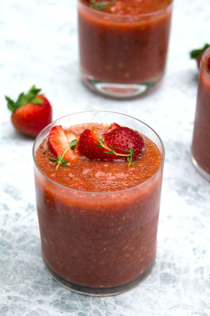 Strawberry Gazpacho -- A summer soup that won't keep you hostage in the hot kitchen | wearenotmartha.com