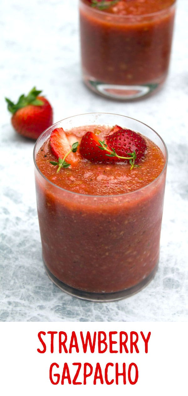 Strawberry Gazpacho -- This strawberry gazpacho is the perfect summer appetizer or meal! It doesn't require a lot of time in the kitchen and the flavors and color are so perfectly summer! | wearenotmartha.com #strawberry #gazpacho #summer #soup