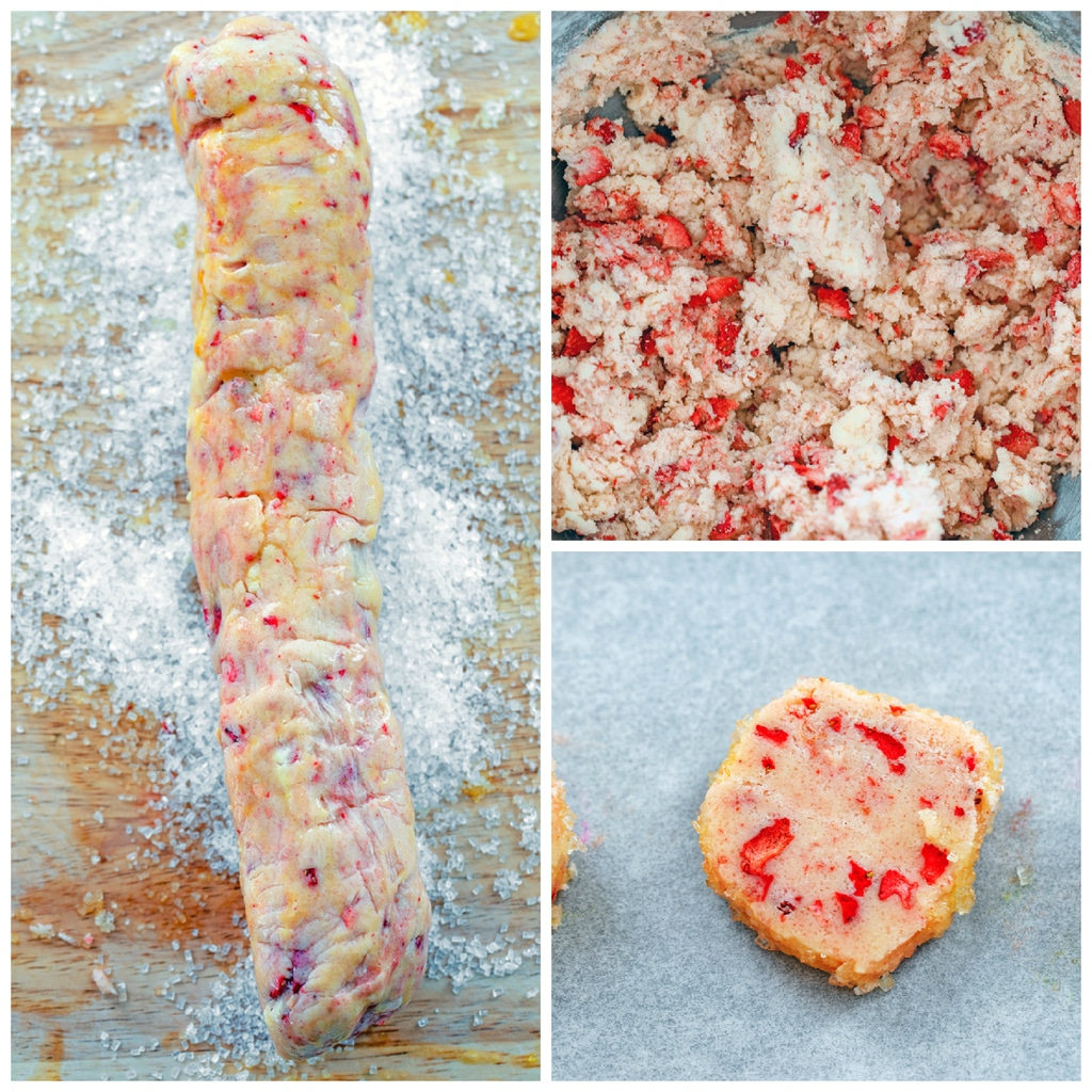 Collage showing process for making strawberry lemonade shortbread cookies, including batter with freeze-dried strawberries in bowl, cookie dough rolled into a log and being coated in coarse sugar, and cookie sliced on baking sheet ready to go into oven