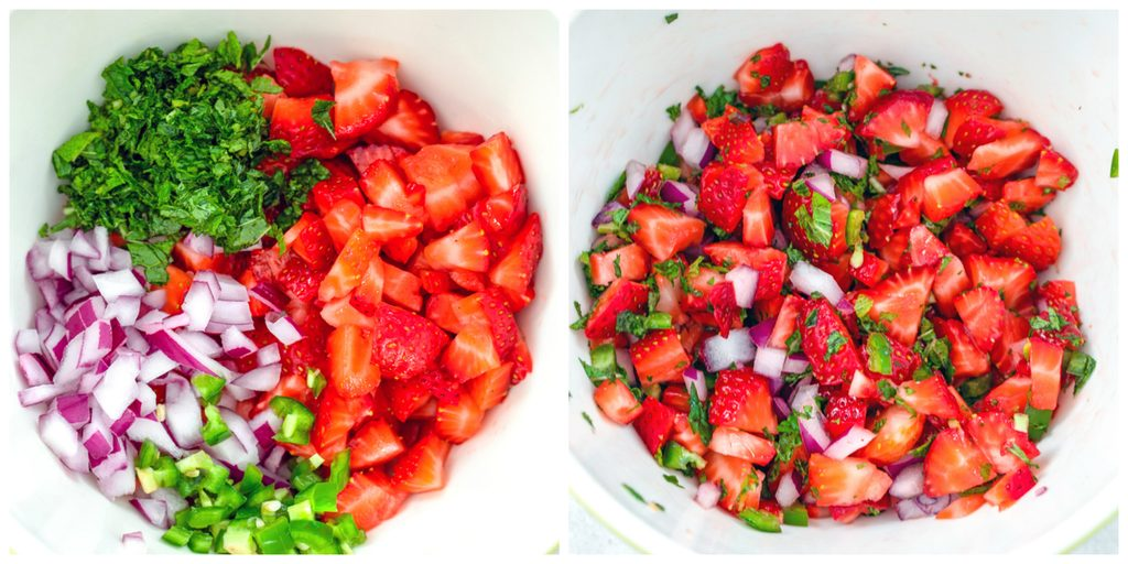 Collage showing strawberry mint salsa with one photo showing chopped red onion, chopped strawberries, mint, and chopped jalapeño in a bowl and one photo showing all the ingredients mixed together