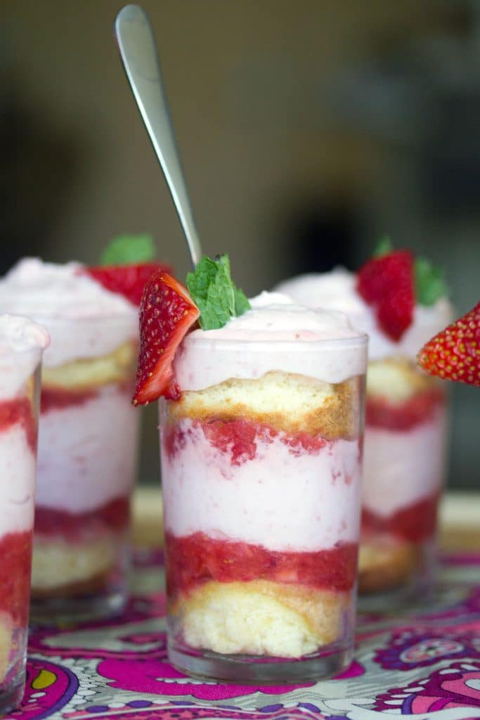 Strawberry Mousse Parfaits -- These Strawberry Parfaits are deliciously adorable mini desserts perfect for serving to a crowd | wearenotmartha.com