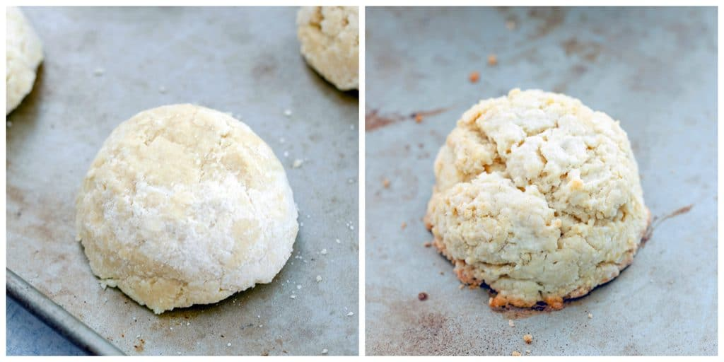 One photo showing biscuit dough formed on baking sheet and another showing baked biscuit just out of the oven on baking sheer