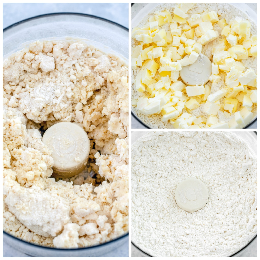 Collage showing process for making biscuits, including chopped butter over flour in food processor, butter mixed into flour in food processor, and liquid added and dough formed in food processor