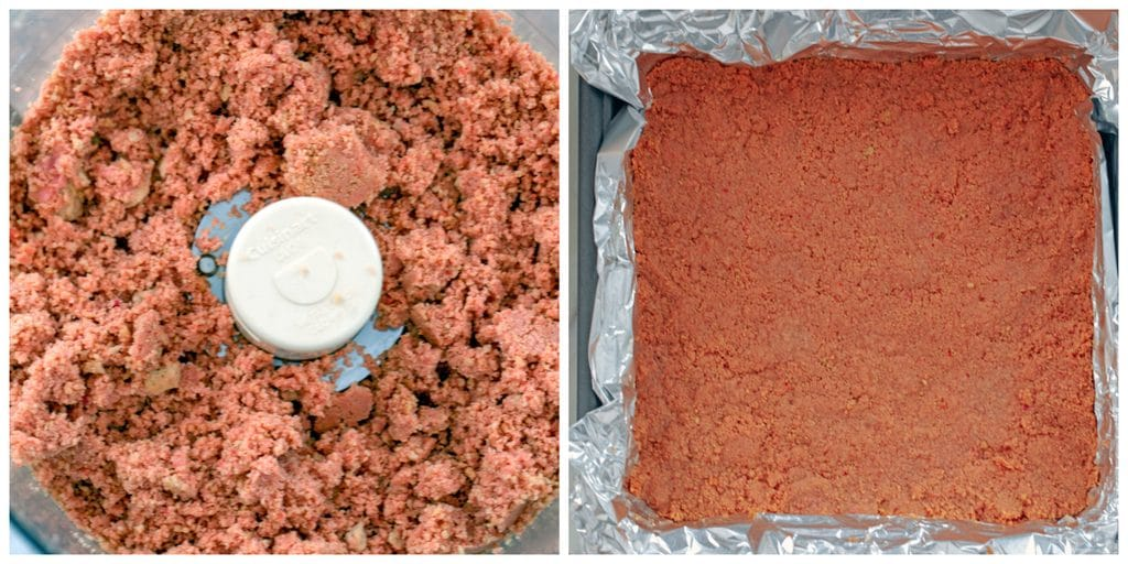 Collage featuring Strawberry Shortcake Oreo Cookie crumbs in the food processor and crumbs and butter pressed down into the bottom of a foil-lined pan