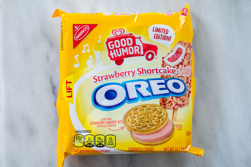 Overhead view of package of Strawberry Shortcake Oreo Cookies