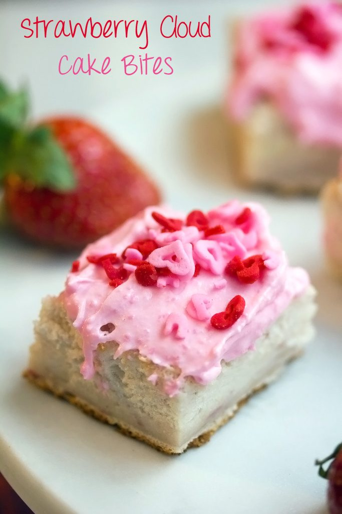 Strawberry Cloud Cake Bites -- Angel food cake with a touch of strawberry | wearenotmartha.com